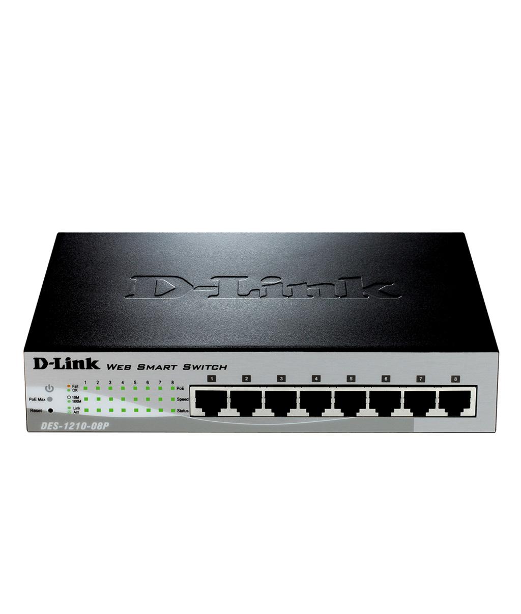 D Link 8 Port Fast Ethernet PoE Smart Switch DES 1210 08P